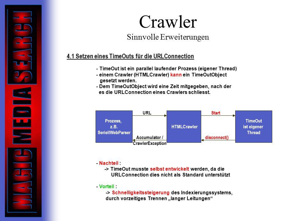 Crawler Sinnvolle Erweiterungen 4.1 Setzen eines TimeOuts für die URLConnection - TimeOut ist ein parallel laufender Prozess (eigener Thread) - einem Crawler (HTMLCrawler) kann ein TimeOutObject gesetzt werden.