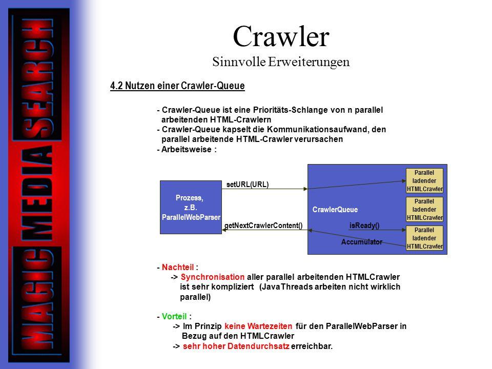 Crawler Sinnvolle Erweiterungen 4.2 Nutzen einer Crawler-Queue - Crawler-Queue ist eine Prioritäts-Schlange von n parallel arbeitenden HTML-Crawlern - Crawler-Queue kapselt die Kommunikationsaufwand, den parallel arbeitende HTML-Crawler verursachen - Arbeitsweise : - Nachteil : -> Synchronisation aller parallel arbeitenden HTMLCrawler ist sehr kompliziert (JavaThreads arbeiten nicht wirklich parallel) - Vorteil : -> Im Prinzip keine Wartezeiten für den ParallelWebParser in Bezug auf den HTMLCrawler -> sehr hoher Datendurchsatz erreichbar.