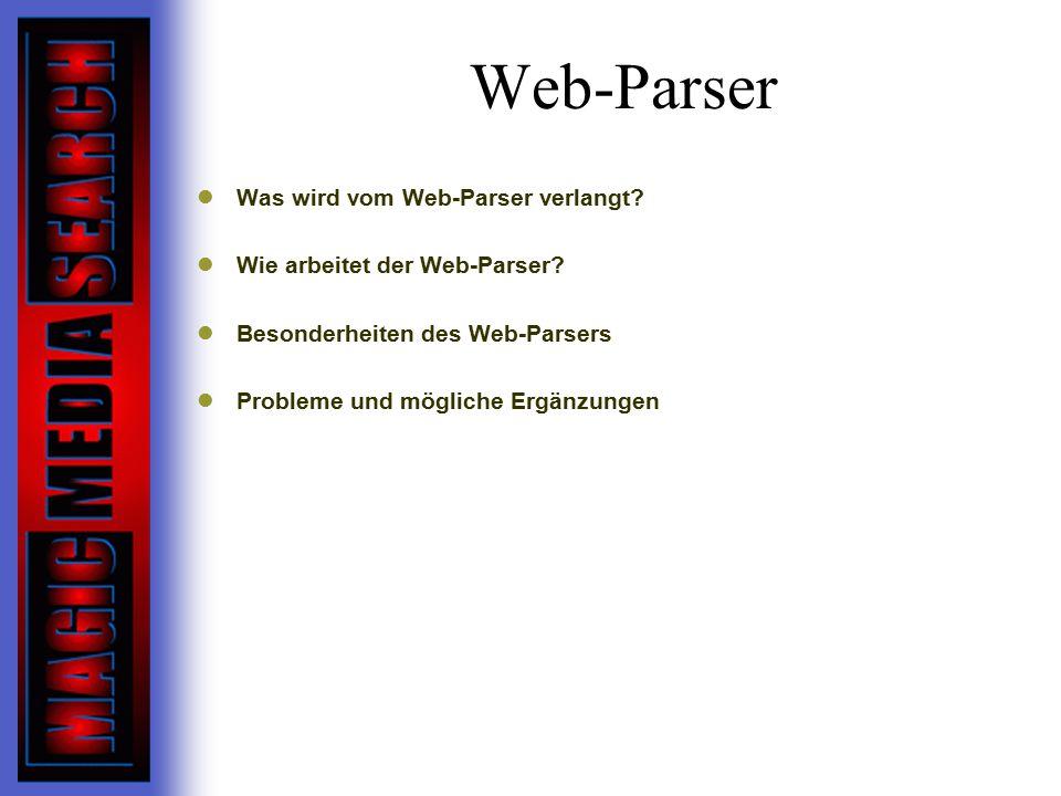 Web-Parser Was wird vom Web-Parser verlangt.Wie arbeitet der Web-Parser.