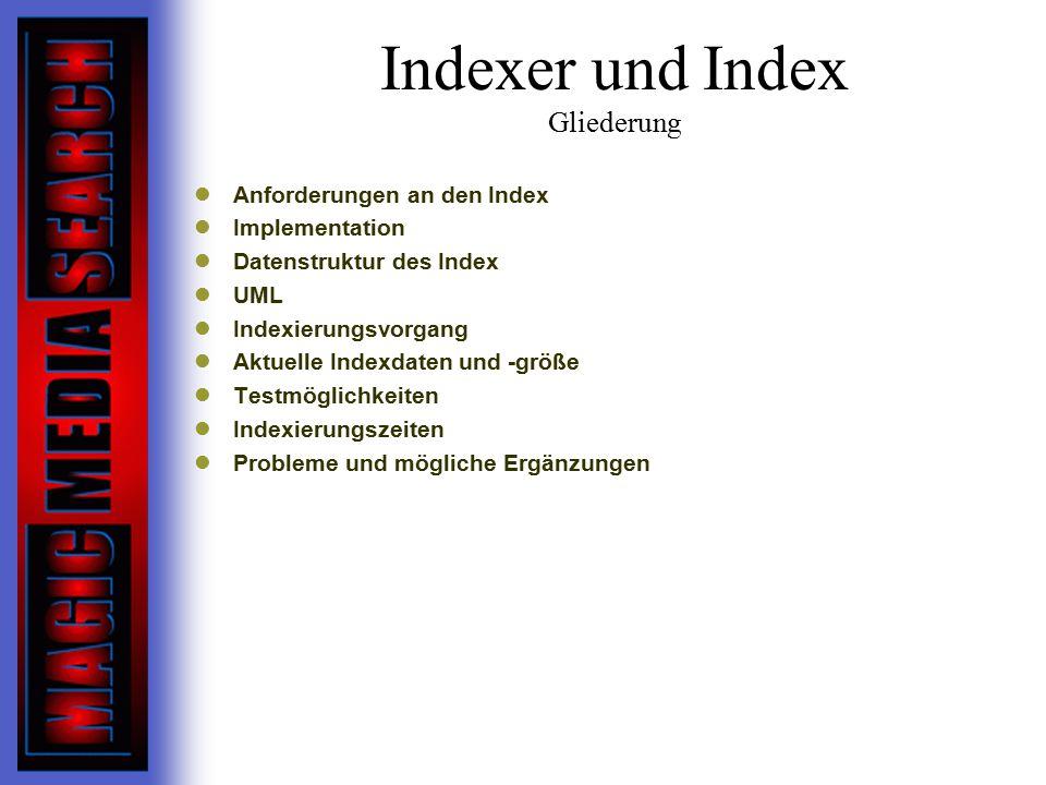 Indexer und Index Gliederung Anforderungen an den Index Implementation Datenstruktur des Index UML Indexierungsvorgang Aktuelle Indexdaten und -größe Testmöglichkeiten Indexierungszeiten Probleme und mögliche Ergänzungen