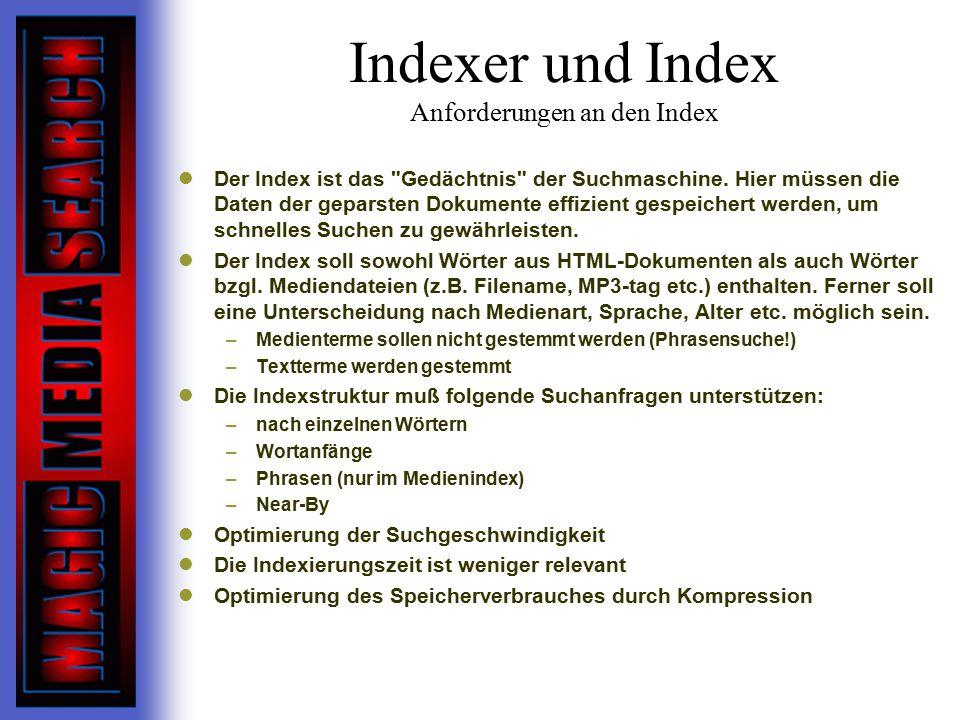Indexer und Index Anforderungen an den Index Der Index ist das Gedächtnis der Suchmaschine.