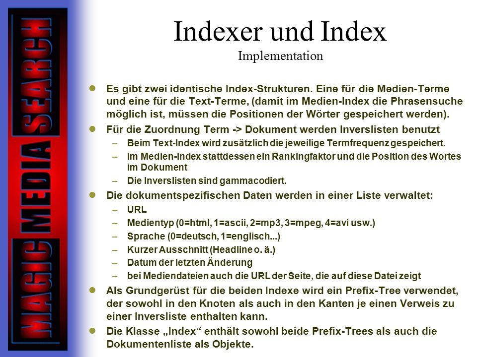 Indexer und Index Implementation Es gibt zwei identische Index-Strukturen.