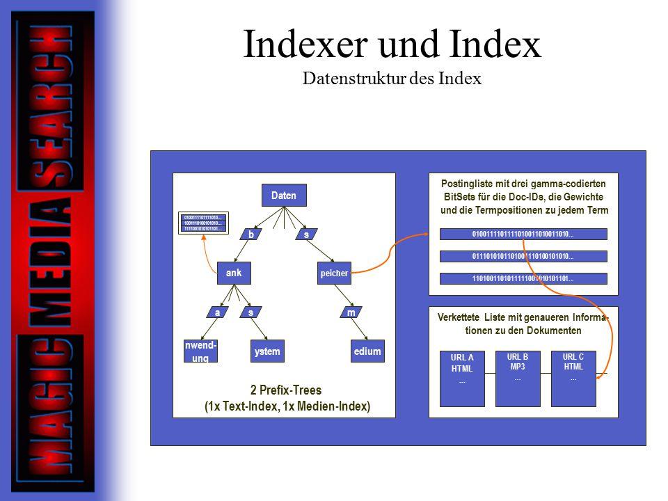 Indexer und Index Datenstruktur des Index Daten ank peicher nwend- ung ystemedium b as s m Postingliste mit drei gamma-codierten BitSets für die Doc-IDs, die Gewichte und die Termpositionen zu jedem Term 0100111101111010011010011010...