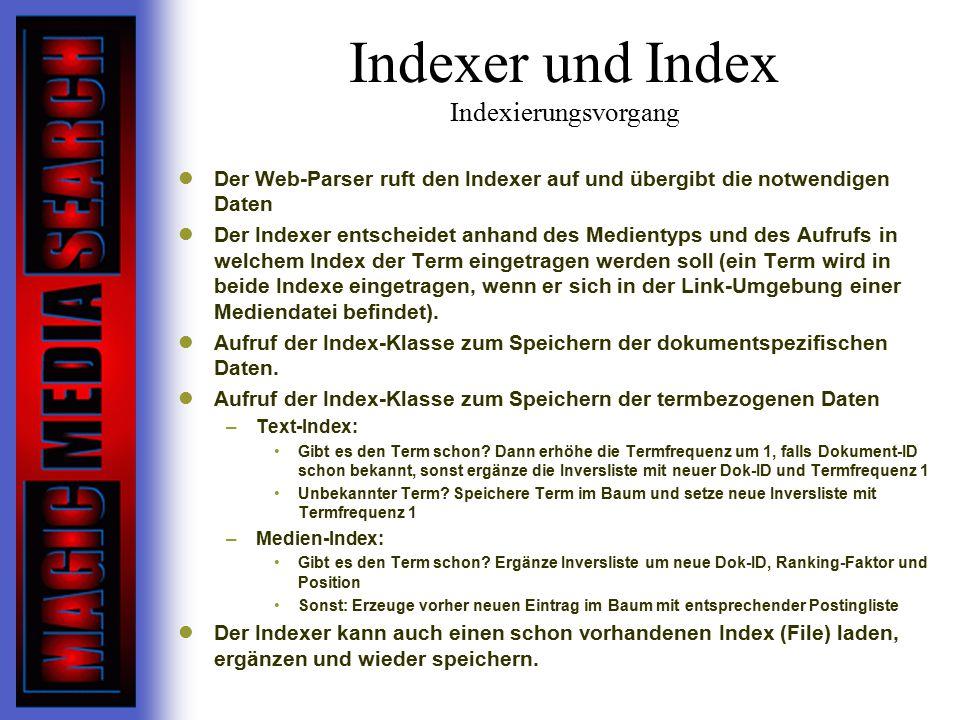 Indexer und Index Indexierungsvorgang Der Web-Parser ruft den Indexer auf und übergibt die notwendigen Daten Der Indexer entscheidet anhand des Medientyps und des Aufrufs in welchem Index der Term eingetragen werden soll (ein Term wird in beide Indexe eingetragen, wenn er sich in der Link-Umgebung einer Mediendatei befindet).