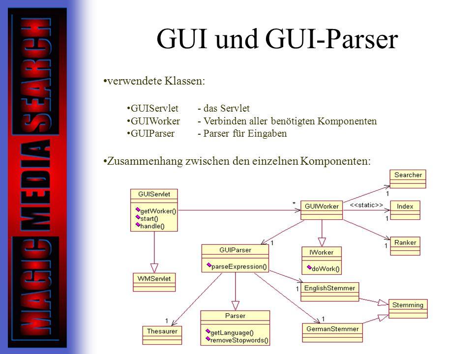 GUI und GUI-Parser verwendete Klassen: GUIServlet- das Servlet GUIWorker- Verbinden aller benötigten Komponenten GUIParser- Parser für Eingaben Zusammenhang zwischen den einzelnen Komponenten:
