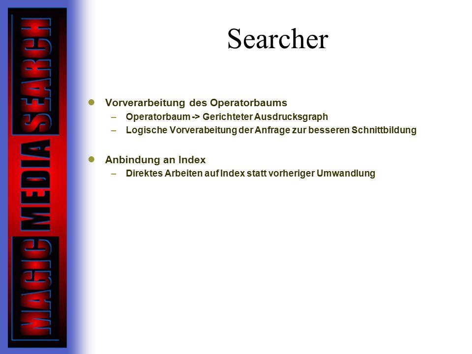 Searcher Vorverarbeitung des Operatorbaums –Operatorbaum -> Gerichteter Ausdrucksgraph –Logische Vorverabeitung der Anfrage zur besseren Schnittbildung Anbindung an Index –Direktes Arbeiten auf Index statt vorheriger Umwandlung