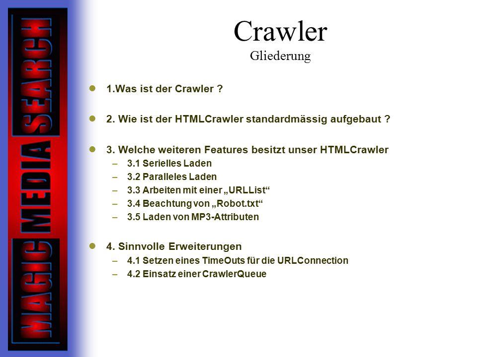 Crawler Gliederung 1.Was ist der Crawler .2. Wie ist der HTMLCrawler standardmässig aufgebaut .