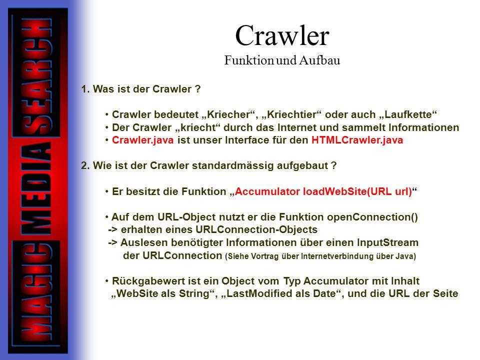 Crawler Funktion und Aufbau 1.Was ist der Crawler .