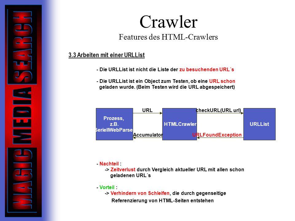 Crawler Features des HTML-Crawlers 3.3 Arbeiten mit einer URLList - Die URLList ist nicht die Liste der zu besuchenden URL´s - Die URLList ist ein Object zum Testen, ob eine URL schon geladen wurde.