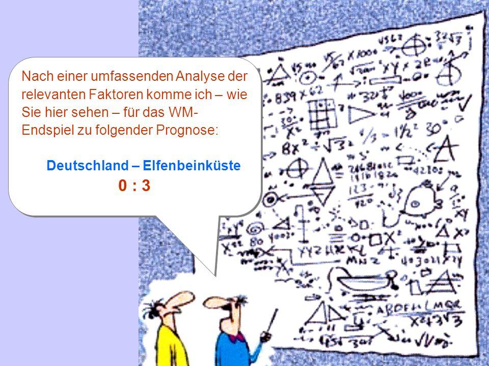 Nach einer umfassenden Analyse der relevanten Faktoren komme ich – wie Sie hier sehen – für das WM- Endspiel zu folgender Prognose: Deutschland – Elfenbeinküste 0 : 3 Nach einer umfassenden Analyse der relevanten Faktoren komme ich – wie Sie hier sehen – für das WM- Endspiel zu folgender Prognose: Deutschland – Elfenbeinküste 0 : 3