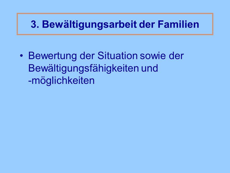 3. Bewältigungsarbeit der Familien Bewertung der Situation sowie der Bewältigungsfähigkeiten und -möglichkeiten