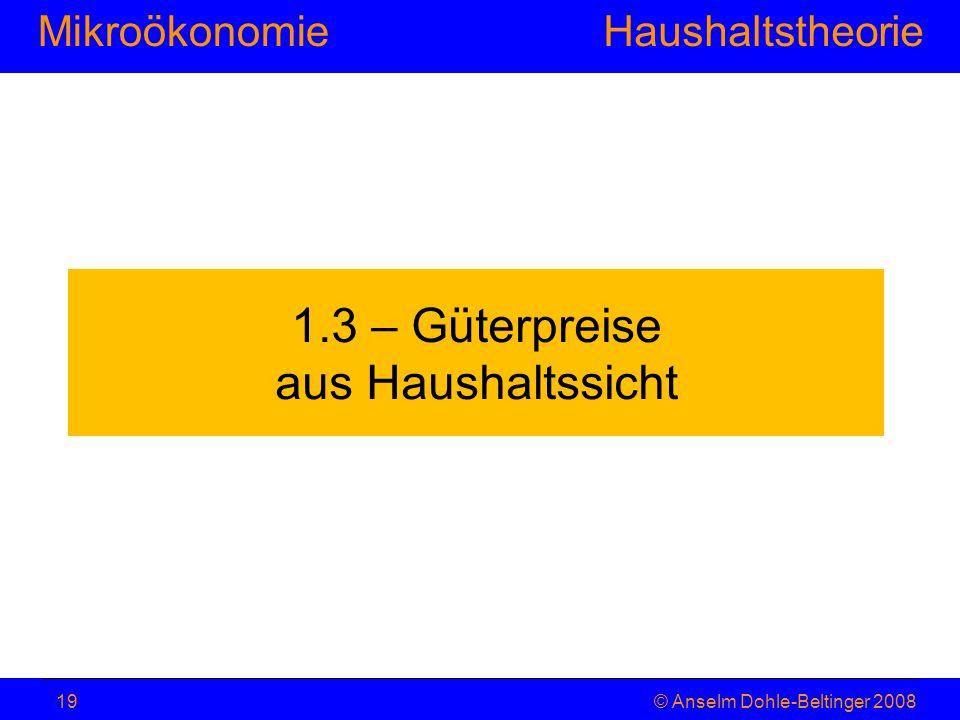 MikroökonomieHaushaltstheorie © Anselm Dohle-Beltinger 200819 1.3 – Güterpreise aus Haushaltssicht