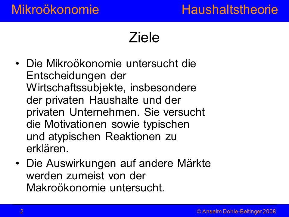 MikroökonomieHaushaltstheorie © Anselm Dohle-Beltinger 20082 Ziele Die Mikroökonomie untersucht die Entscheidungen der Wirtschaftssubjekte, insbesonde
