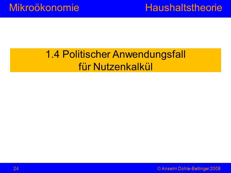 MikroökonomieHaushaltstheorie © Anselm Dohle-Beltinger 200824 1.4 Politischer Anwendungsfall für Nutzenkalkül