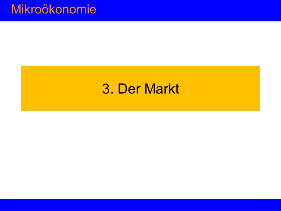 Mikroökonomie 3. Der Markt