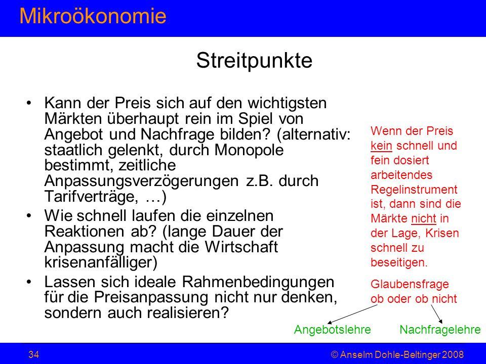 MikroökonomieHaushaltstheorie © Anselm Dohle-Beltinger 200834 Kann der Preis sich auf den wichtigsten Märkten überhaupt rein im Spiel von Angebot und