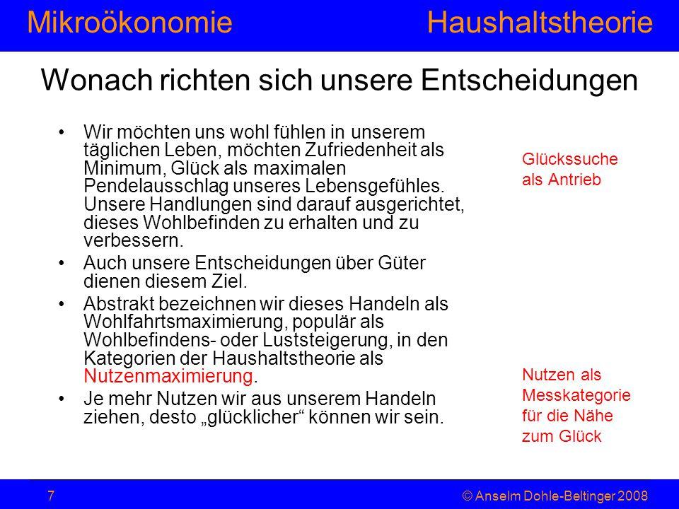 MikroökonomieHaushaltstheorie © Anselm Dohle-Beltinger 20087 Wonach richten sich unsere Entscheidungen Wir möchten uns wohl fühlen in unserem tägliche