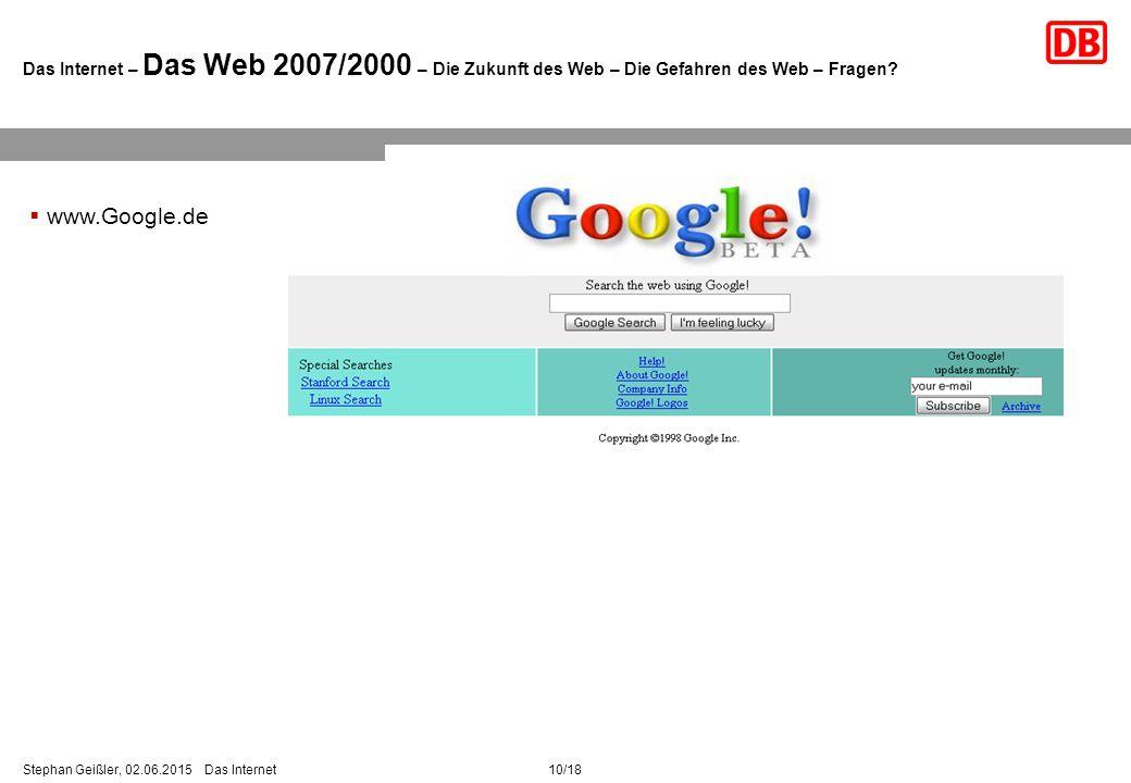 10/18Stephan Geißler, 02.06.2015 Das Internet Das Internet – Das Web 2007/2000 – Die Zukunft des Web – Die Gefahren des Web – Fragen.