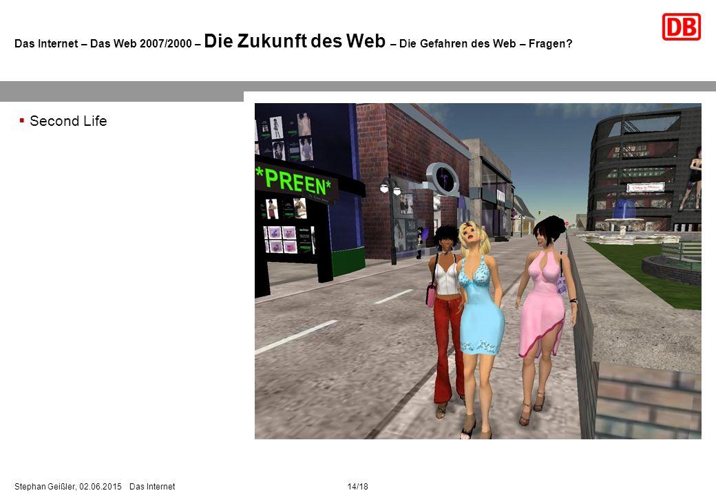 Das Internet – Das Web 2007/2000 – Die Zukunft des Web – Die Gefahren des Web – Fragen.