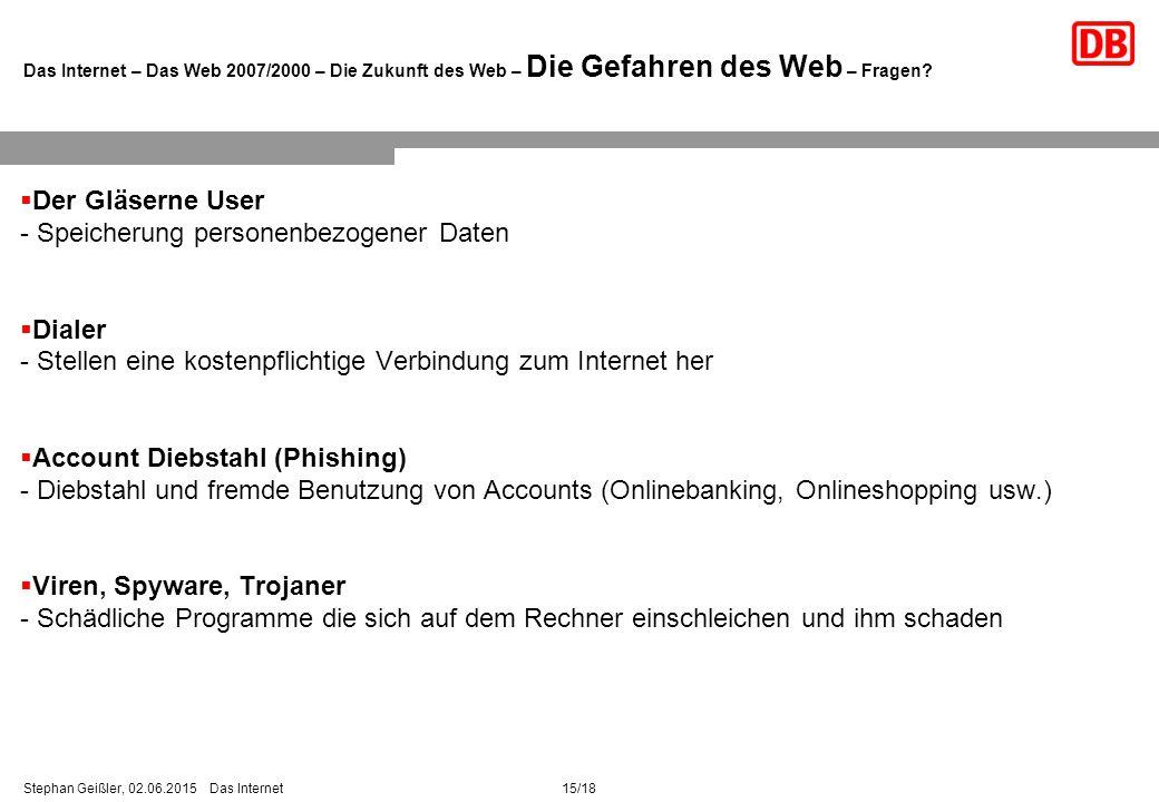 15/18Stephan Geißler, 02.06.2015 Das Internet Das Internet – Das Web 2007/2000 – Die Zukunft des Web – Die Gefahren des Web – Fragen.