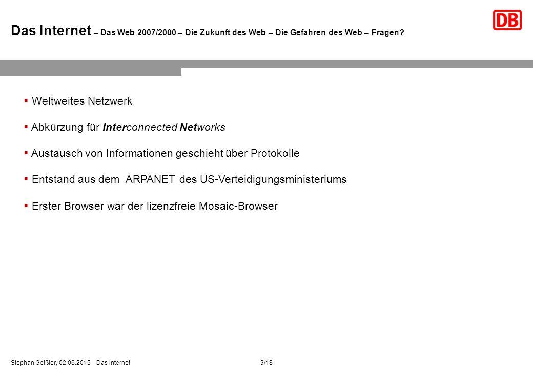 3/18Stephan Geißler, 02.06.2015 Das Internet Das Internet – Das Web 2007/2000 – Die Zukunft des Web – Die Gefahren des Web – Fragen.