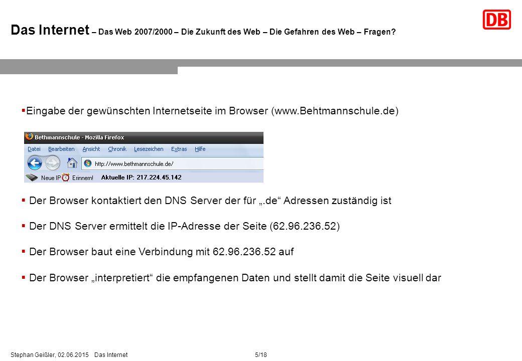 5/18Stephan Geißler, 02.06.2015 Das Internet Das Internet – Das Web 2007/2000 – Die Zukunft des Web – Die Gefahren des Web – Fragen.