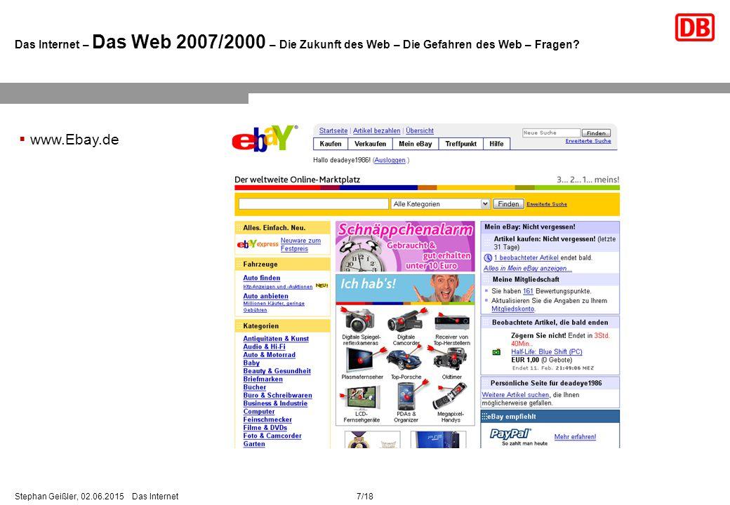 7/18Stephan Geißler, 02.06.2015 Das Internet Das Internet – Das Web 2007/2000 – Die Zukunft des Web – Die Gefahren des Web – Fragen.