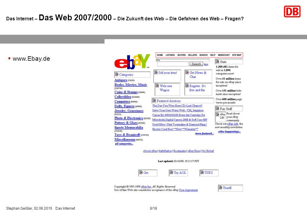 8/18Stephan Geißler, 02.06.2015 Das Internet Das Internet – Das Web 2007/2000 – Die Zukunft des Web – Die Gefahren des Web – Fragen.
