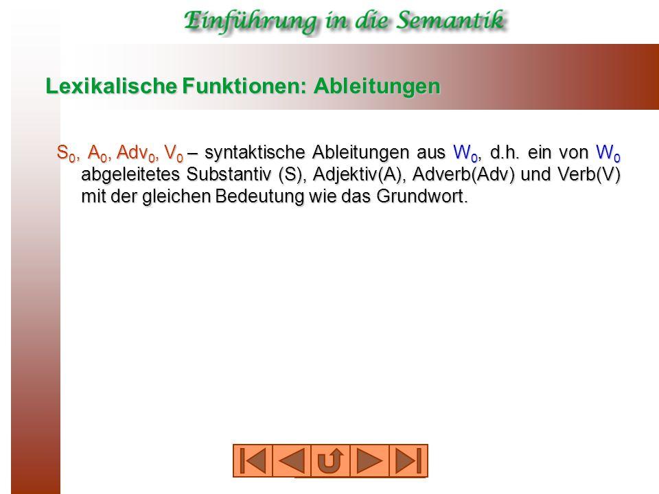Lexikalische Funktionen: Ableitungen S 0, A 0, Adv 0, V 0 – syntaktische Ableitungen aus W 0, d.h.
