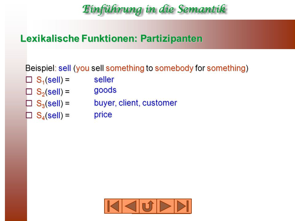 Lexikalische Funktionen: Partizipanten Beispiel: sell (you sell something to somebody for something)  S 1 (sell) =  S 2 (sell) =  S 3 (sell) =  S 4 (sell) = seller goods buyer, client, customer price