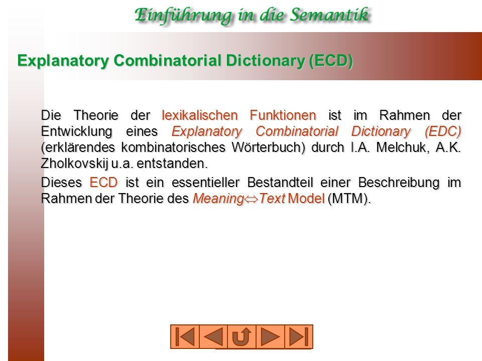 Explanatory Combinatorial Dictionary (ECD) Die Theorie der lexikalischen Funktionen ist im Rahmen der Entwicklung eines Explanatory Combinatorial Dictionary (EDC) (erklärendes kombinatorisches Wörterbuch) durch I.A.