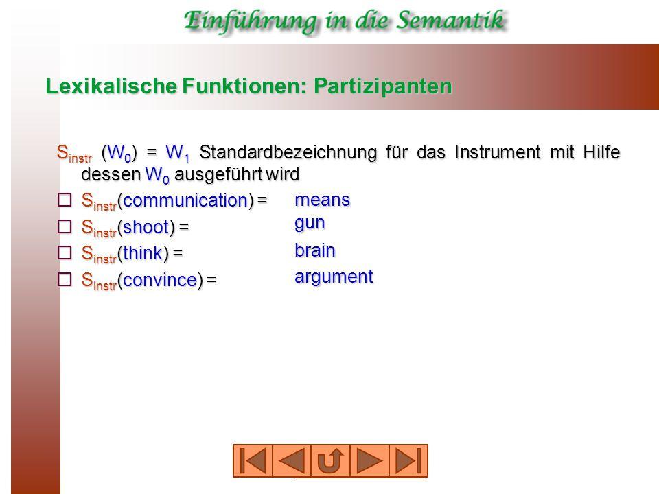 Lexikalische Funktionen: Partizipanten S instr (W 0 ) = W 1 Standardbezeichnung für das Instrument mit Hilfe dessen W 0 ausgeführt wird  S instr (communication) =  S instr (shoot) =  S instr (think) =  S instr (convince) = means gun brain argument
