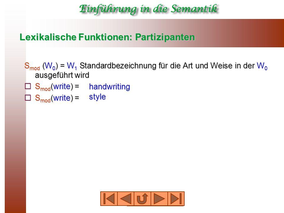 Lexikalische Funktionen: Partizipanten S mod (W 0 ) = W 1 Standardbezeichnung für die Art und Weise in der W 0 ausgeführt wird  S mod (write) = handwriting style