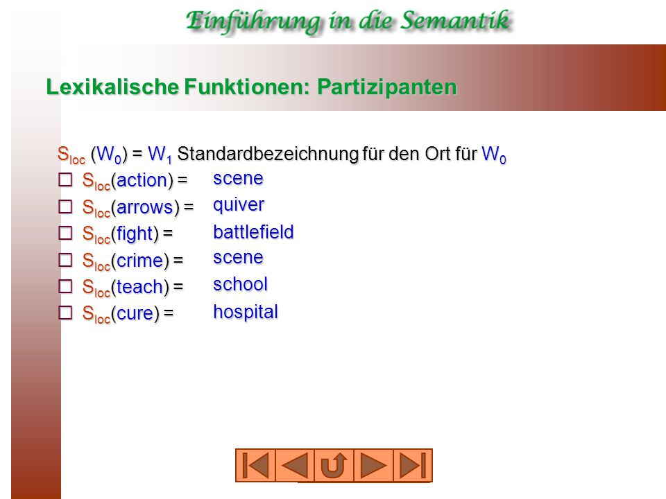 Lexikalische Funktionen: Partizipanten S loc (W 0 ) = W 1 Standardbezeichnung für den Ort für W 0  S loc (action) =  S loc (arrows) =  S loc (fight) =  S loc (crime) =  S loc (teach) =  S loc (cure) = scene quiver battlefield scene school hospital