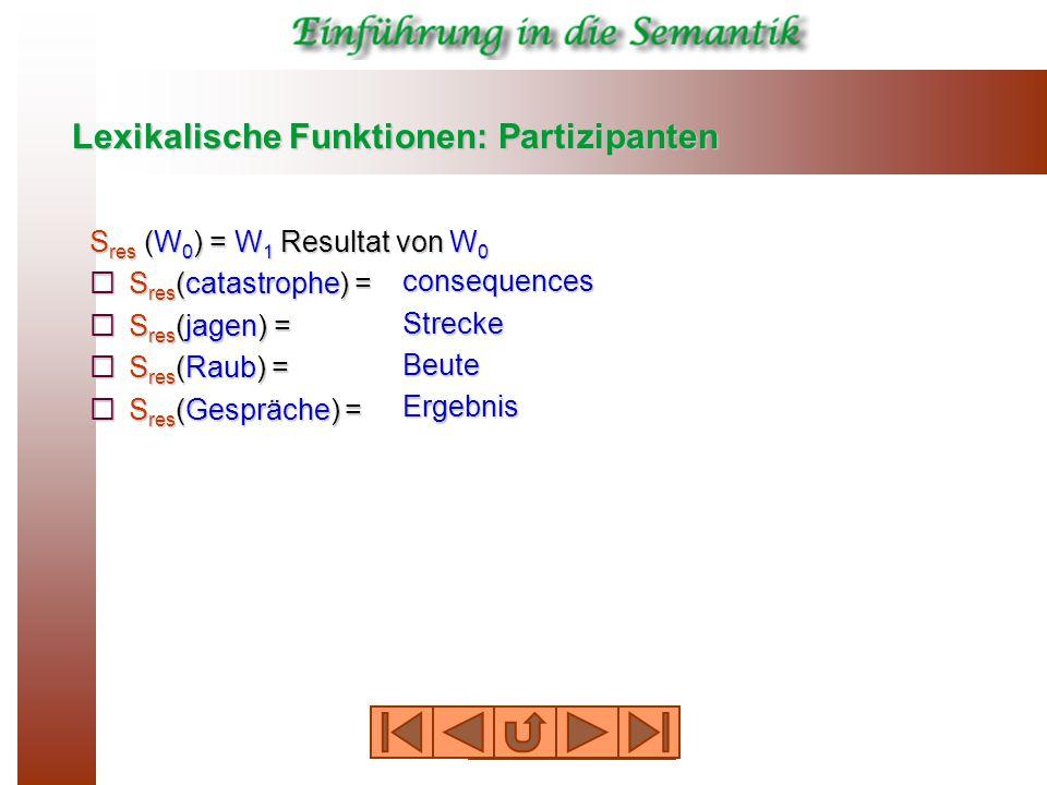 Lexikalische Funktionen: Partizipanten S res (W 0 ) = W 1 Resultat von W 0  S res (catastrophe) =  S res (jagen) =  S res (Raub) =  S res (Gespräche) = consequences Strecke Beute Ergebnis