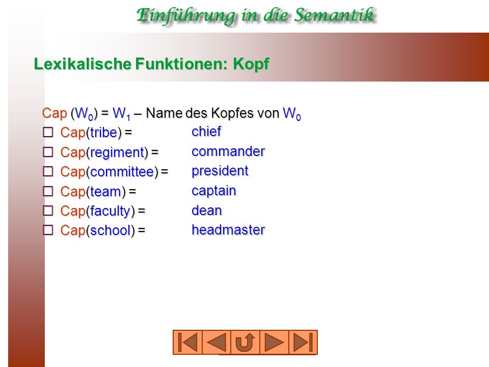 Lexikalische Funktionen: Kopf Cap (W 0 ) = W 1 – Name des Kopfes von W 0  Cap(tribe) =  Cap(regiment) =  Cap(committee) =  Cap(team) =  Cap(faculty) =  Cap(school) = chief commander president captain dean headmaster