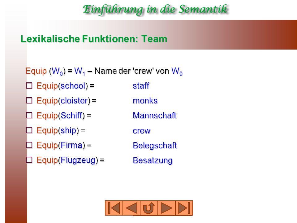 Lexikalische Funktionen: Team Equip (W 0 ) = W 1 – Name der crew von W 0  Equip(school) =  Equip(cloister) =  Equip(Schiff) =  Equip(ship) =  Equip(Firma) =  Equip(Flugzeug) = staff monks Mannschaft crew Belegschaft Besatzung