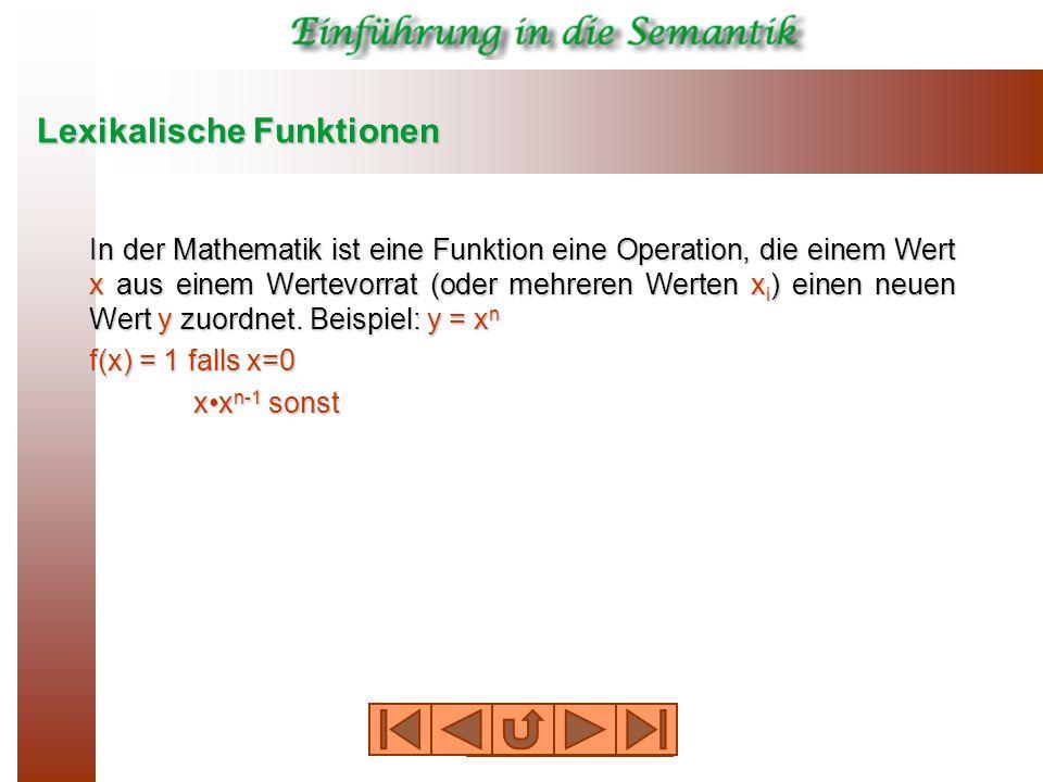 Lexikalische Funktionen In der Mathematik ist eine Funktion eine Operation, die einem Wert x aus einem Wertevorrat (oder mehreren Werten x i ) einen neuen Wert y zuordnet.
