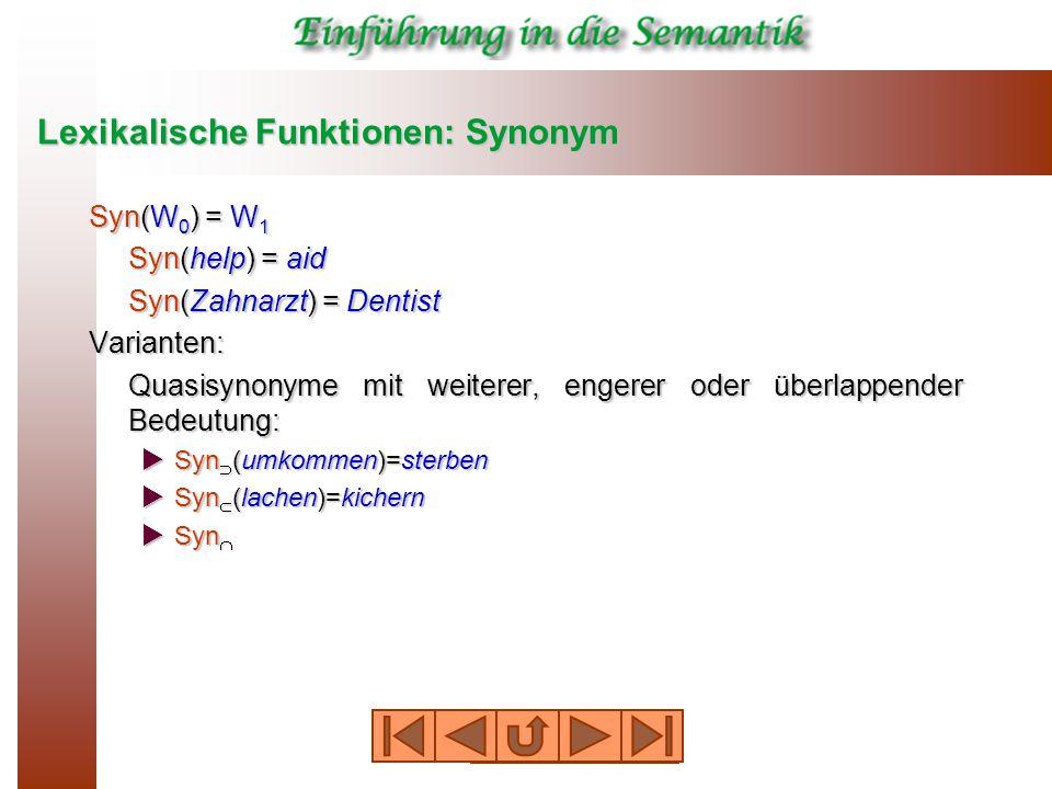 Lexikalische Funktionen: Synonym Syn(W 0 ) = W 1 Syn(help) = aid Syn(Zahnarzt) = Dentist Varianten: Quasisynonyme mit weiterer, engerer oder überlappender Bedeutung:  Syn  (umkommen)=sterben  Syn  (lachen)=kichern  Syn 