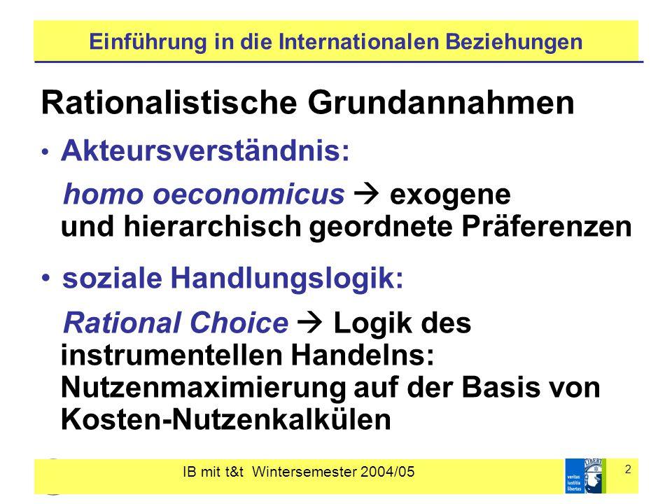 IB mit t&t Wintersemester 2004/05 2 Einführung in die Internationalen Beziehungen Rationalistische Grundannahmen Akteursverständnis: homo oeconomicus