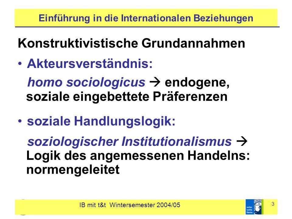 IB mit t&t Wintersemester 2004/05 3 Einführung in die Internationalen Beziehungen Konstruktivistische Grundannahmen Akteursverständnis: homo sociologi