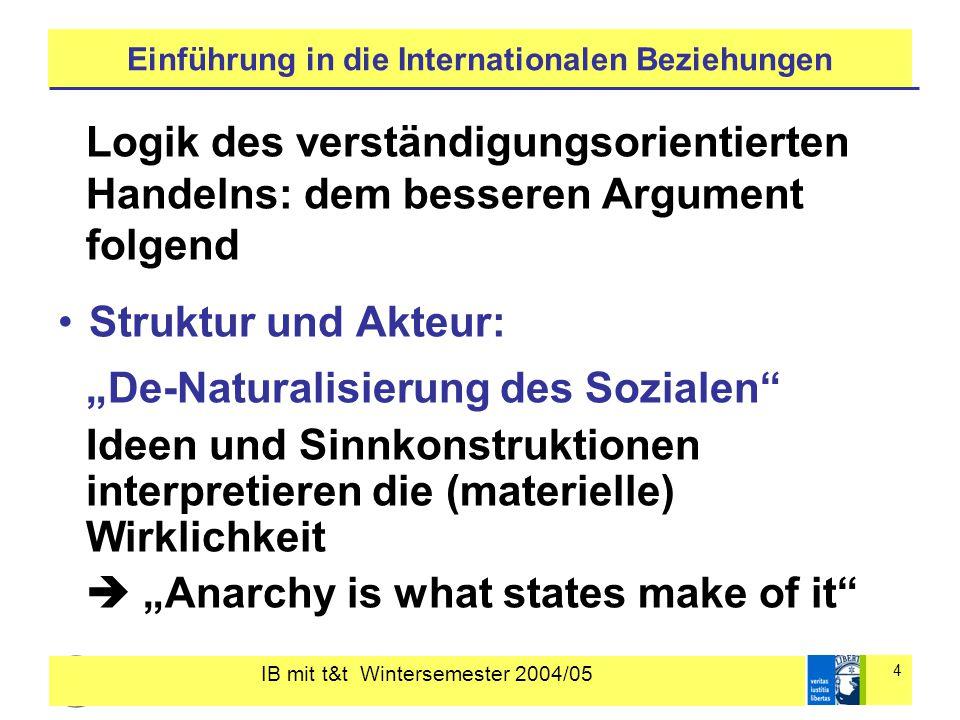 """IB mit t&t Wintersemester 2004/05 5 Einführung in die Internationalen Beziehungen """"gesellschaftliche Konstruktion der Wirklichkeit  Die soziale Wirklichkeit ist eine interpretierte Wirklichkeit (""""doppelte Hermeneutik )  Akteure und soziale Strukturen konstituieren (bedingen) sich wechselseitig"""