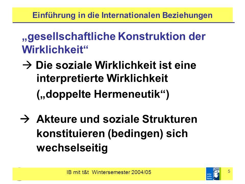 """IB mit t&t Wintersemester 2004/05 5 Einführung in die Internationalen Beziehungen """"gesellschaftliche Konstruktion der Wirklichkeit""""  Die soziale Wirk"""