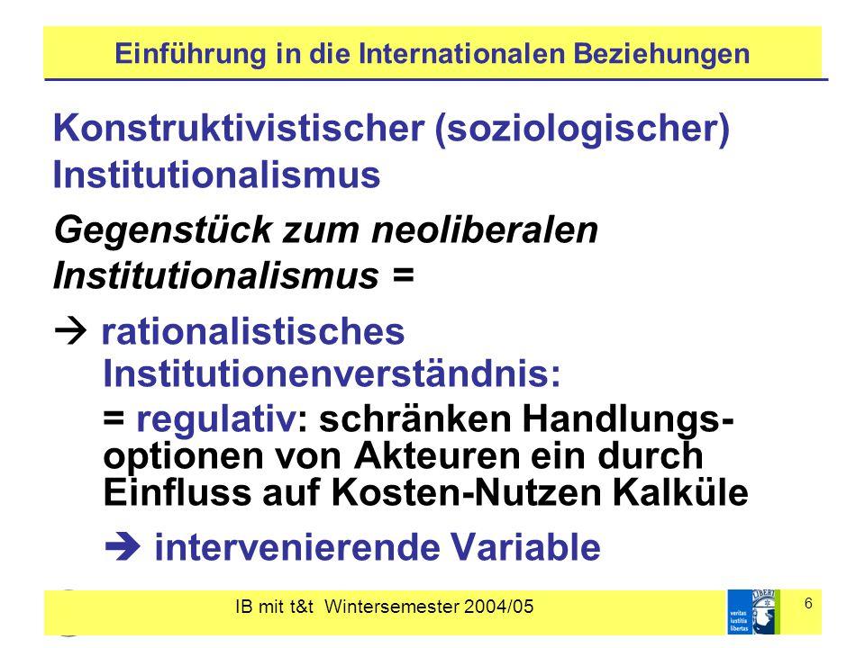 IB mit t&t Wintersemester 2004/05 7 Einführung in die Internationalen Beziehungen konstruktivistisches Institutionenverständnis: = konstitutiv: definieren, wer diese Akteure sind, einschl.