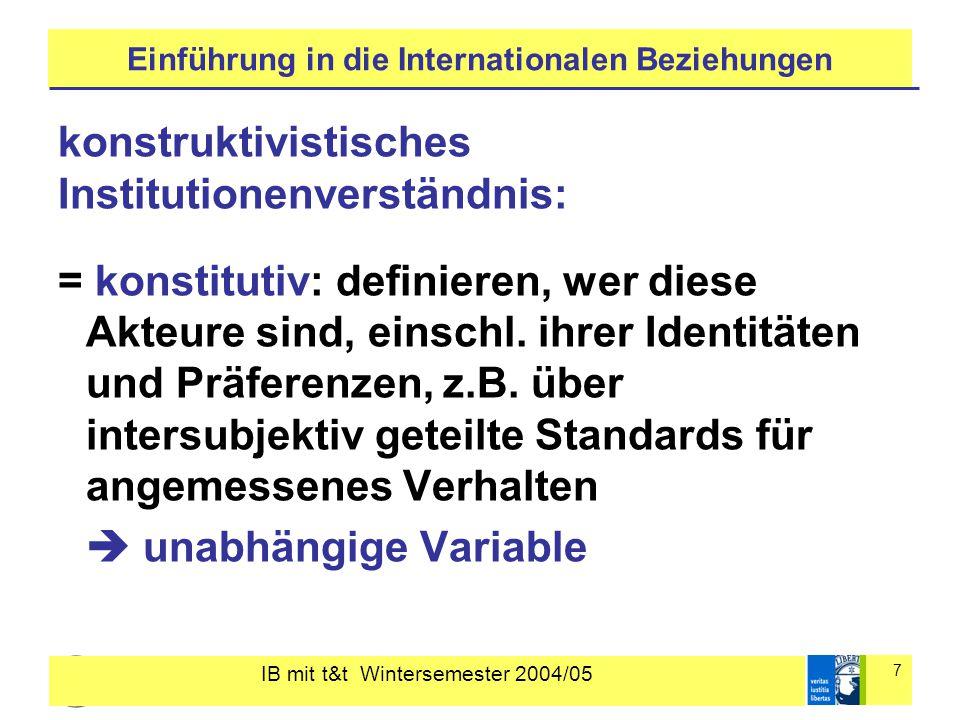 IB mit t&t Wintersemester 2004/05 7 Einführung in die Internationalen Beziehungen konstruktivistisches Institutionenverständnis: = konstitutiv: defini