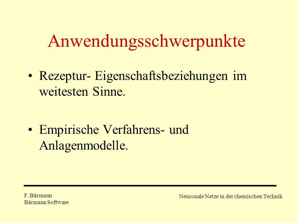 Anwendungsschwerpunkte Rezeptur- Eigenschaftsbeziehungen im weitesten Sinne. Empirische Verfahrens- und Anlagenmodelle. F. Bärmann Bärmann Software Ne