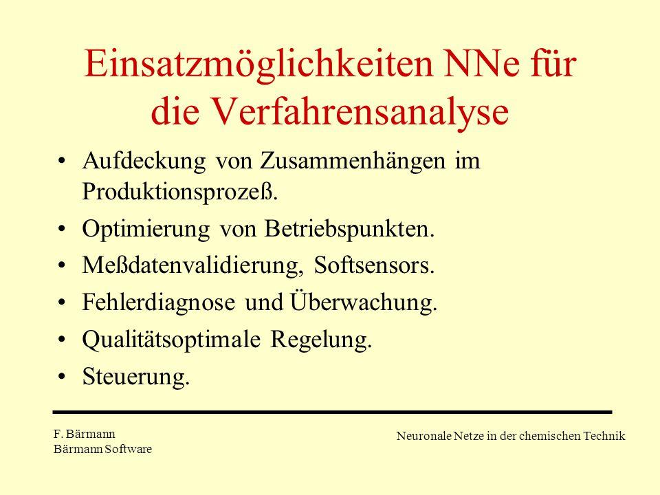 Einsatzmöglichkeiten NNe für die Verfahrensanalyse Aufdeckung von Zusammenhängen im Produktionsprozeß. Optimierung von Betriebspunkten. Meßdatenvalidi