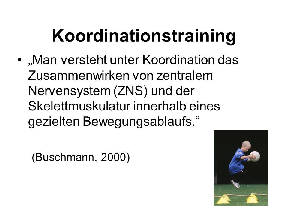 """""""Man versteht unter Koordination das Zusammenwirken von zentralem Nervensystem (ZNS) und der Skelettmuskulatur innerhalb eines gezielten Bewegungsabla"""