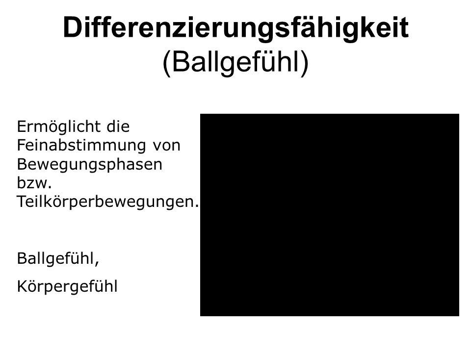 Differenzierungsfähigkeit (Ballgefühl) Ermöglicht die Feinabstimmung von Bewegungsphasen bzw. Teilkörperbewegungen. Ballgefühl, Körpergefühl