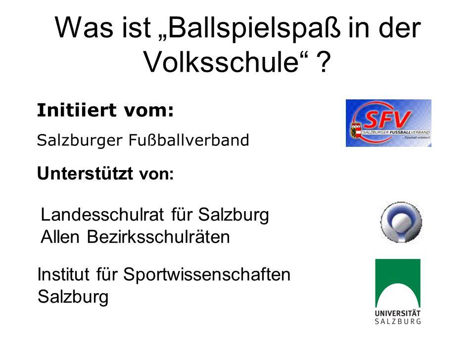 """Was ist """"Ballspielspaß in der Volksschule"""" ? Unterstützt von: Landesschulrat für Salzburg Allen Bezirksschulräten Institut für Sportwissenschaften Sal"""